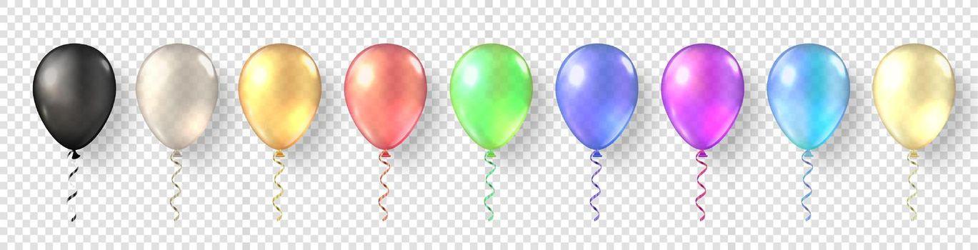 Colorful balloon set. Festive 3d helium balloons template. Festival romantic decorations.