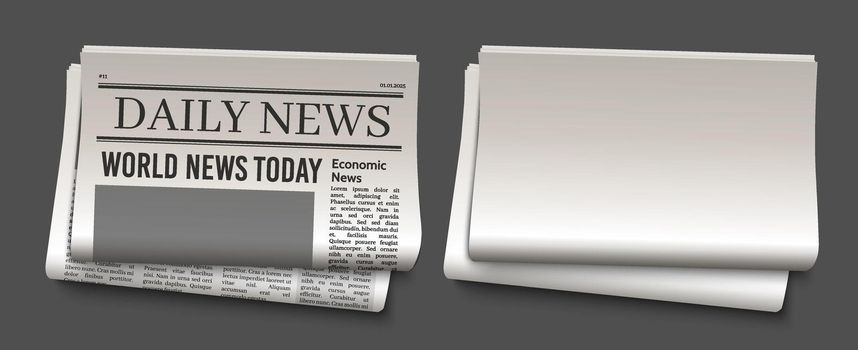 Newspaper headline template. News paper headline vector mockup. Tabloid journal simple background. Newsprint modern style