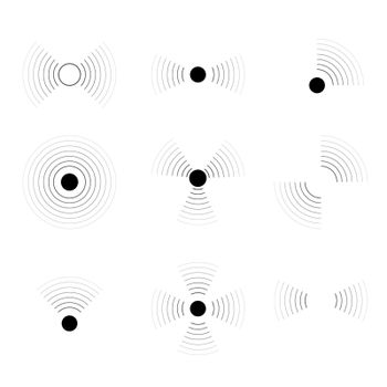 Pulse signal wave. Circle sound or wifi symbols. Headache or pain vector pictogram.