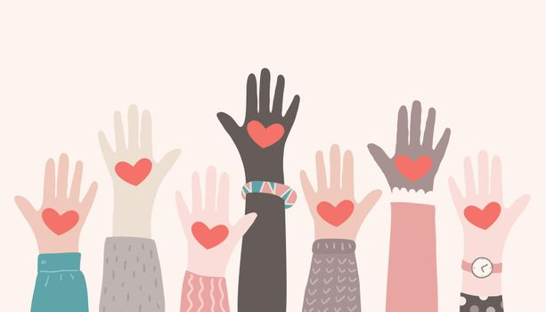 Raised hands volunteering. Charity partnership concept. Multiracial hands with hearts reaching up. Vector illuststration.