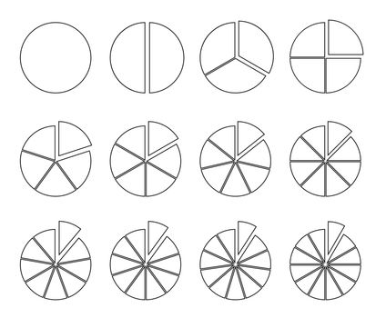 Circle outline chart. Fraction pie divided into slices. Round infographic vector segments.