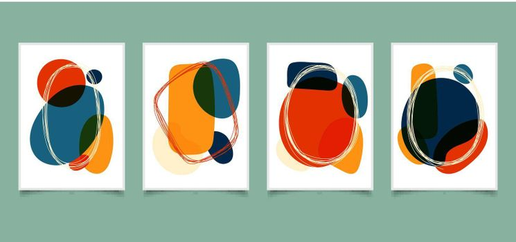 Set of abstract hand drawn organic shape bright color with lines frame doodles on white background