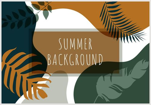 Abstract background summer tropical banner with palm leaves and exotic plants organic shape