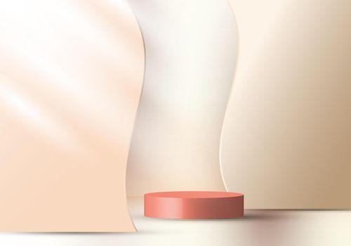 3D realistic elegant display brown cylinder pedestal podium on beige color wave liquid shape decorate backdrop