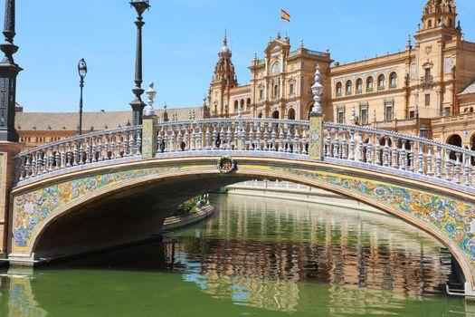 Beautiful view of Plaza de Espana in Seville, Spain