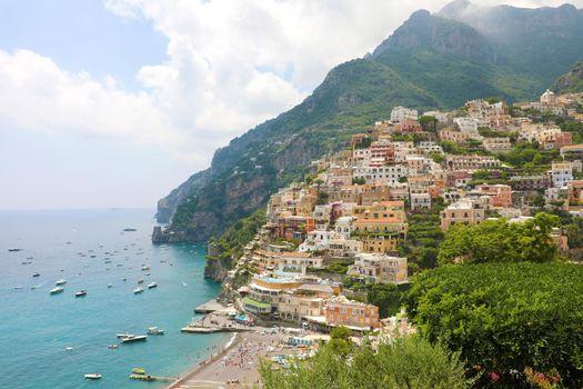 Panoramic view of Positano village, Amalfi Coast, Italy