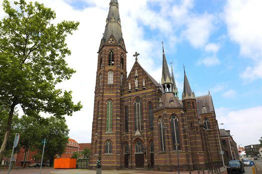 Exterior of a 19th century Father Church (Augustijnenkerk) in Eindhoven, Netherlands