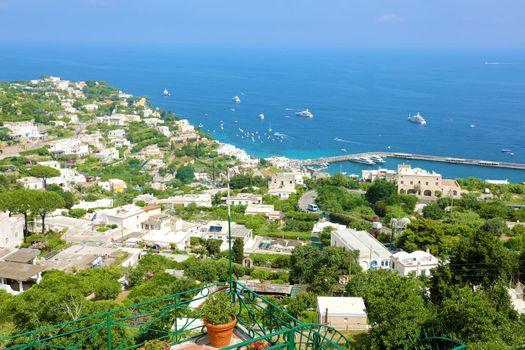Capri sight from terrace, Capri Island, Italy