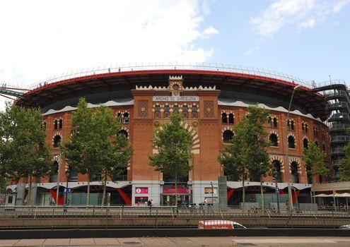 BARCELONA, SPAIN - JULY 13, 2018: Arenas de Barcelona is a shopping center inside the old plaza de toros bullring in Barcelona, Catalonia, Spain