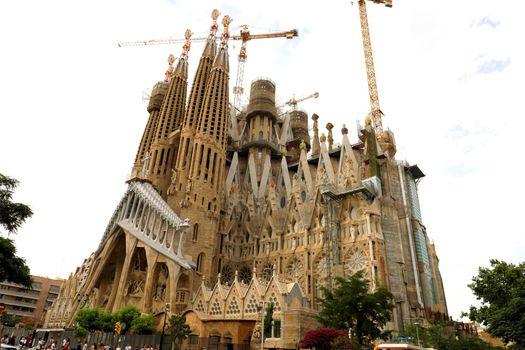 BARCELONA, SPAIN - JULY 12, 2018: The Basilica i Temple Expiatori de la Sagrada Familia, Barcelona, Catalonia, Spain