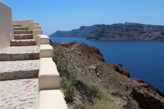 Tranquil Stairs climbing up from Aegean Sea in Santorini Island, Greece
