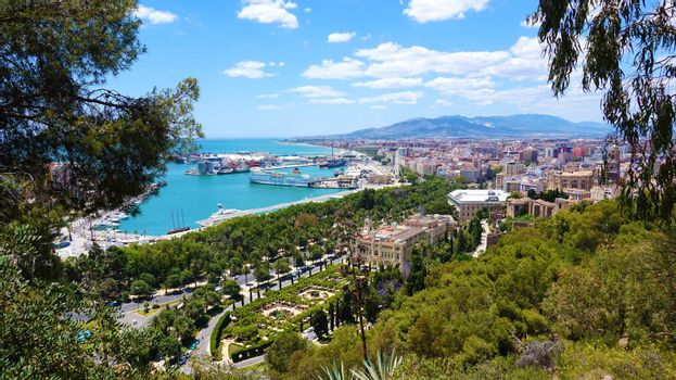 Amazing panoramic view of Malaga City, Andalusia, Spain, Europe