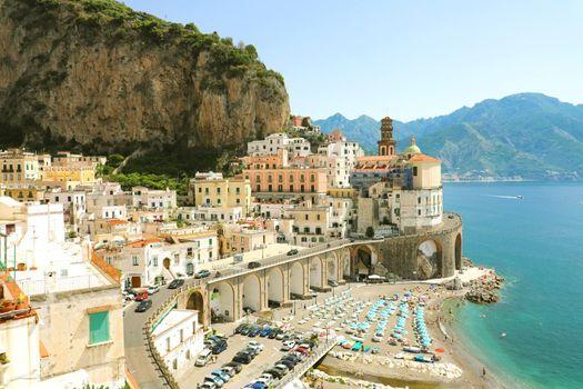 Amazing view of Atrani village, Amalfi Coast, Italy