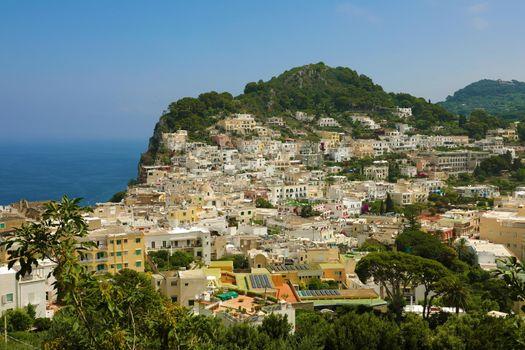 Panoramic view of houses in Capri Island, Italy