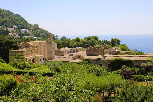 Scenic view of Certosa di San Giacomo, Carthusian monastery, Capri, Gulf of Naples, Campania, Italy