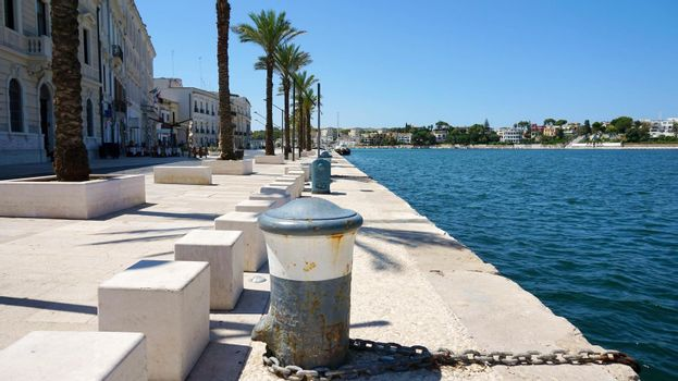 BRINDISI, ITALY - AUGUST, 8, 2017: seafront of Brindisi old town, Apulia, Italy