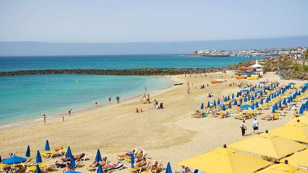 LANZAROTE, SPAIN - APRIL 18, 2018: Playa Dorada beach, Lanzarote, Spain