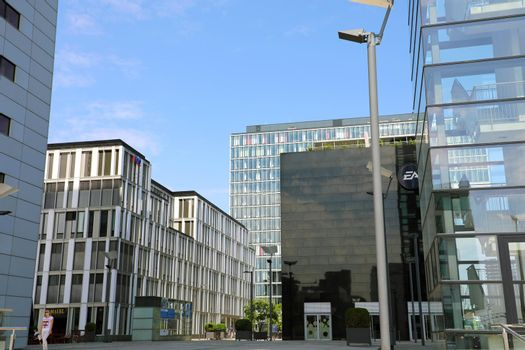 COLOGNE, GERMANY - MAY 31, 2018: Modern business glass buildings in Cologne, Germany