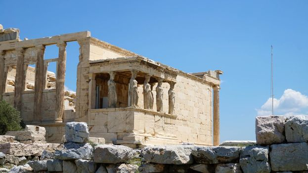 Six Caryatids or karyatides at Porch of the Erechtheion in Acropolis at Athens