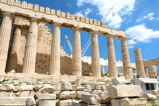 Parthenon temple under renovation on the Acropolis in Athens, Greece