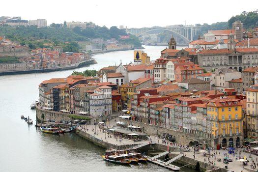 PORTO, PORTUGAL - JUNE 21, 2018: Porto aerial view with Douro river