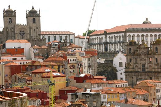Cityscape of old town of Porto with Cathedral and Episcopal Palace