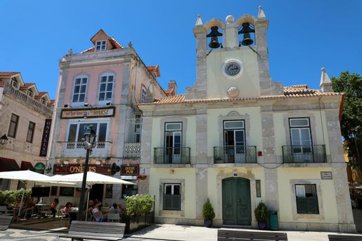 CASCAIS, PORTUGAL -  JUNE 25, 2018: Main Square of Cascais with Town Hall