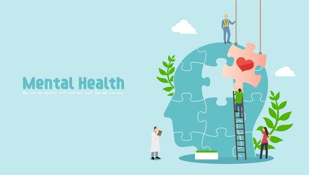 Mental health concept  vector banner illustration
