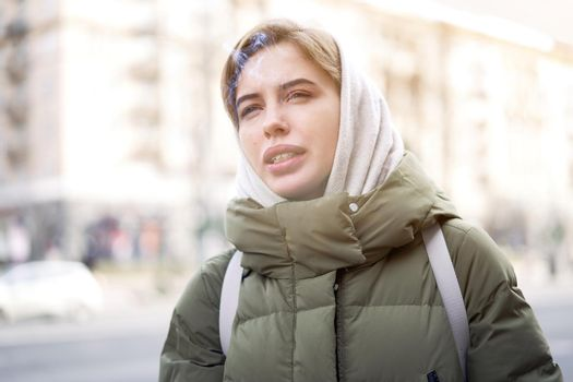 Woman portrait dark background Caucasian female headshoot