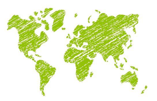 Chalked vector grunge world map illustration