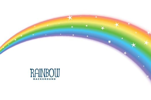 wavy curve rainbow with stars background