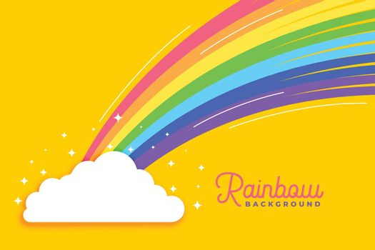 rainbow with clouds bright background