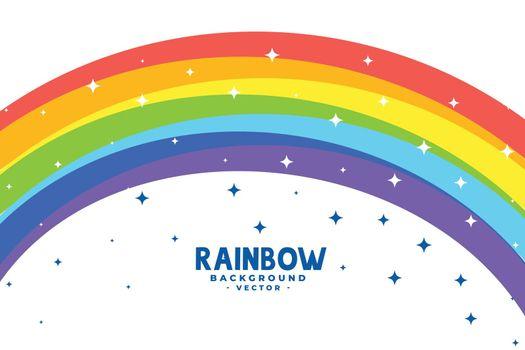 curve rainbow arc with stars background