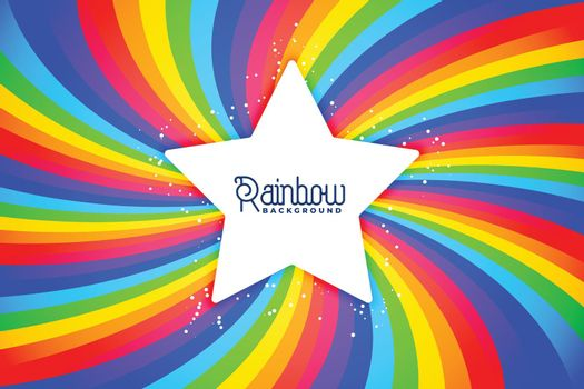 radial rainbow swirl background with star