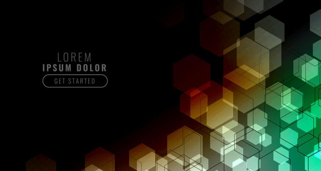 black background with colorful hexagonal grid