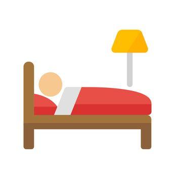 Bed, sleeping, hotel vector icon illustration