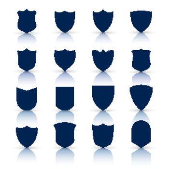 big set of shield symbols and icons