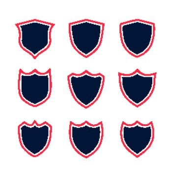 set of shield icons with red contour