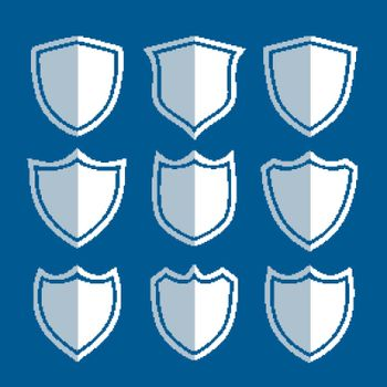 white shield signs and symbols set