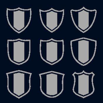 set of gray shield symbols and signs