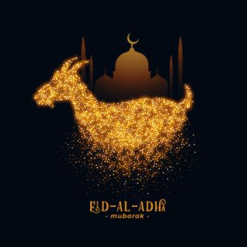 Eid Al Adha greeting with goat and mosque design