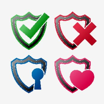 set of security icon shield set