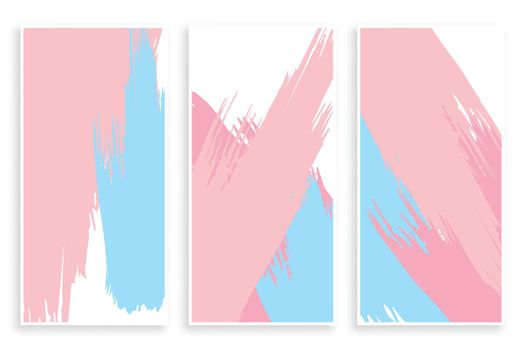 abstract pastel color paint brush stroke banners set