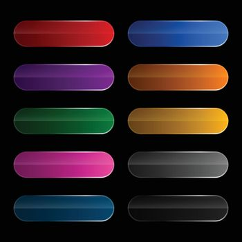 shiny wide rounded buttons set