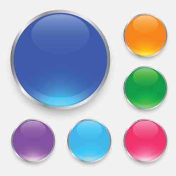 glossy shiny buttons set in many colors