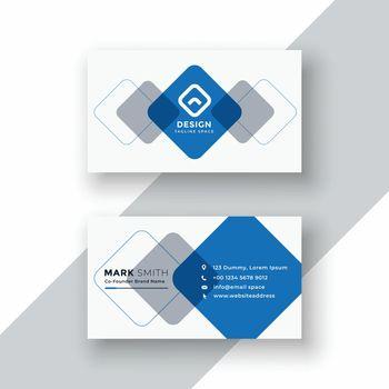 minimal blue geometric business card design