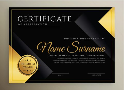 black and gold certificate template