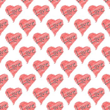 Seamless heart and word LOVE pattern for texture, textiles, packaging and simple backgrounds. Flat Style