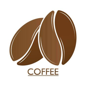Coffee beans. Template, for logo, brand, sticker, and creative design. Flat Style