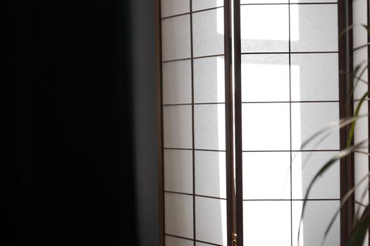 Japanese sliding doors made of translucent paper and bamboo wood